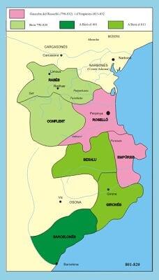 801 a 820 Berà, primer Conde de Barcelona - Dominios